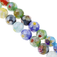 Millefiori Glasperlen, Glas Millefiori, rund, handgemacht, verschiedene Größen vorhanden & facettierte, gemischte Farben, Bohrung:ca. 1mm, Länge:ca. 13.5 ZollInch, verkauft von Tasche