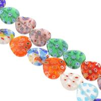 Millefiori Glasperlen, Glas Millefiori, Herz, handgemacht, verschiedene Größen vorhanden, gemischte Farben, Bohrung:ca. 1mm, verkauft per ca. 14 ZollInch Strang
