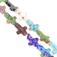 Millefiori Glasperlen, Glas Millefiori, Kreuz, handgemacht, verschiedene Größen vorhanden, gemischte Farben, Bohrung:ca. 1mm, Länge:ca. 14.5 ZollInch, verkauft von Tasche