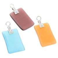Katzenauge Anhänger, mit Eisen, Rechteck, gemischte Farben, 14x22x3mm, Bohrung:ca. 3mm, 10PCs/Tasche, verkauft von Tasche
