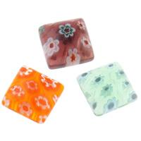 Glas Millefiori Cabochon, Quadrat, handgemacht, flache Rückseite, gemischte Farben, 10x10mm, 100PCs/Tasche, verkauft von Tasche