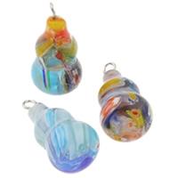 Millefiori Glas Anhänger Schmuck, Glas Millefiori, mit Eisen, Kalebasse, handgemacht, gemischte Farben, 12x23mm, Bohrung:ca. 1.5mm, 10PCs/Tasche, verkauft von Tasche
