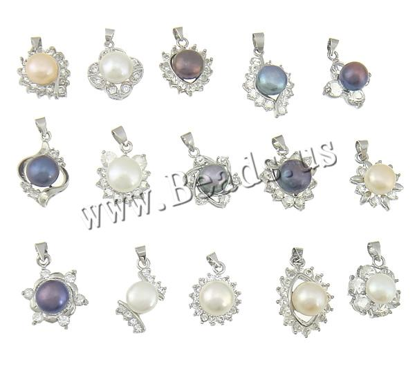 Buy Freshwater Pearl Pendants Brass platinum color plated rhinestone & mixed 15-16.5x20.8-23.2x9.2-12.2mm Hole:Approx 4x5mm 1 Sold Lot