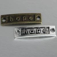 Zinklegierung Schmuckverbinder Stange, Rechteck, Wort Hoffnung, plattiert, 1/11 Schleife, keine, frei von Nickel, Blei & Kadmium, 35x10x2mm, 500PCs/Menge, verkauft von Menge