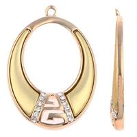 Zinklegierung Ohranhänger Zubehör, mit Acryl, oval, plattiert, mit Strass, keine, frei von Nickel, Blei & Kadmium, 27x41x4mm, Bohrung:ca. 1mm, verkauft von Paar