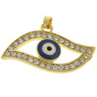 Evil Eye Anhänger, Zinklegierung, blöser Blick, goldfarben plattiert, Emaille & mit Strass, frei von Nickel, Blei & Kadmium, 33x20x4mm, Bohrung:ca. 3mm, 10PCs/Tasche, verkauft von Tasche