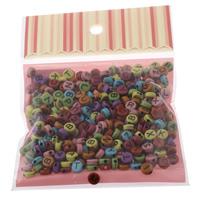 Alphabet Acryl Perlen, gemischt & Volltonfarbe, 7x3mm, 100x170mm, Bohrung:ca. 1mm, ca. 240PCs/Tasche, verkauft von Tasche