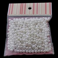 ABS-Kunststoff-Perlen, ABS Kunststoff, mit OPP, rund, Nachahmung Perle, weiß, 6x6mm, 100x170mm, Bohrung:ca. 1mm, ca. 350PCs/Tasche, verkauft von Tasche