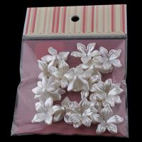 ABS Kunststoff Perlkappen, mit OPP, Blume, Nachahmung Perle, weiß, 28x8mm, 100x170mm, Bohrung:ca. 1mm, 20PCs/Tasche, verkauft von Tasche