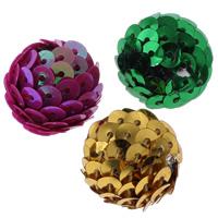 Acryl Perle, mit Kunststoff Pailletten, rund, gemischte Farben, 20mm, Bohrung:ca. 2mm, 100PCs/Tasche, verkauft von Tasche