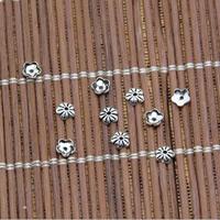 Bali Sterling Silber Perlenkappen, Thailand, Blume, 4mm, Bohrung:ca. 0.5mm, 600PCs/Menge, verkauft von Menge
