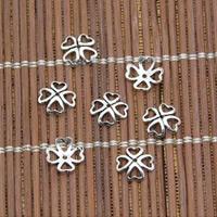Bali Sterling Silber Perlenkappen, Thailand, vierblättriges Kleeblatt, 8mm, Bohrung:ca. 0.5mm, 200PCs/Menge, verkauft von Menge