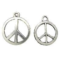 Zinklegierung Frieden Anhänger, Frieden Logo, antik silberfarben plattiert, verschiedene Größen vorhanden, frei von Nickel, Blei & Kadmium, Bohrung:ca. 1.5mm, 1000PCs/Menge, verkauft von Menge