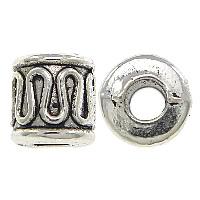 Zinklegierung Großes Loch Perlen, Zylinder, antik silberfarben plattiert, frei von Nickel, Blei & Kadmium, 5x6mm, Bohrung:ca. 3mm, 1000PCs/Menge, verkauft von Menge