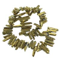 Natürliche Beschichtung Quarz Perlen, Klarer Quarz, Klumpen, goldfarben plattiert, 3.5-7x17-29x5-7mm, Bohrung:ca. 1mm, Länge:ca. 15 ZollInch, 2SträngeStrang/Menge, ca. 75PCs/Strang, verkauft von Menge