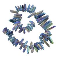 Natürliche Beschichtung Quarz Perlen, Klarer Quarz, Klumpen, bunte Farbe plattiert, 5-8x19-40x5-10mm, Bohrung:ca. 1mm, Länge:ca. 16 ZollInch, 2.1SträngeStrang/Menge, ca. 62PCs/Strang, verkauft von Menge