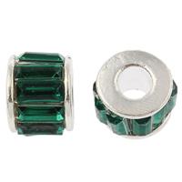 Zink Legierung Europa Perlen, Zinklegierung, Rondell, silberfarben plattiert, mit Acryl Strass & ohne troll, keine, frei von Nickel, Blei & Kadmium, 12x10mm, Bohrung:ca. 5mm, verkauft von PC