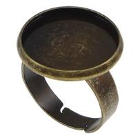 Messing Ringschiene, flache Runde, antike Bronzefarbe plattiert, frei von Nickel, Blei & Kadmium, 18mm, Bohrung:ca. 2mm, Innendurchmesser:ca. 16mm, Größe:7, 100PCs/Menge, verkauft von Menge