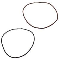 PU Leder Halskette Schnur, Messing Bajonettverschluss, Platinfarbe platiniert, keine, frei von Nickel, Blei & Kadmium, 4mm, 17x5mm, Länge:ca. 19 ZollInch, 30SträngeStrang/Menge, verkauft von Menge