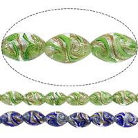 Goldsand & Silberfolie Lampwork Perlen, oval, keine, 16x11mm, Bohrung:ca. 2mm, Länge:ca. 16 ZollInch, 5SträngeStrang/Menge, ca. 25PCs/Strang, verkauft von Menge
