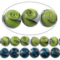 Goldsand Lampwork Perlen, rund, keine, 12mm, Bohrung:ca. 2mm, Länge:ca. 13.5 ZollInch, 5SträngeStrang/Menge, ca. 30PCs/Strang, verkauft von Menge