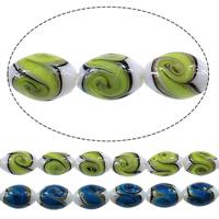 Goldsand Lampwork Perlen, oval, keine, 16x11mm, Bohrung:ca. 2mm, Länge:ca. 15 ZollInch, 2SträngeStrang/Menge, ca. 25PCs/Strang, verkauft von Menge