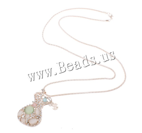 Buy Zinc Alloy Sweater Chain Necklace iron chain & Cats Eye Money Bag rose gold color plated lantern chain & rhinestone & hollow nickel lead & cadmium free 32x48x15mm Sold Per Approx 28 Inch Strand