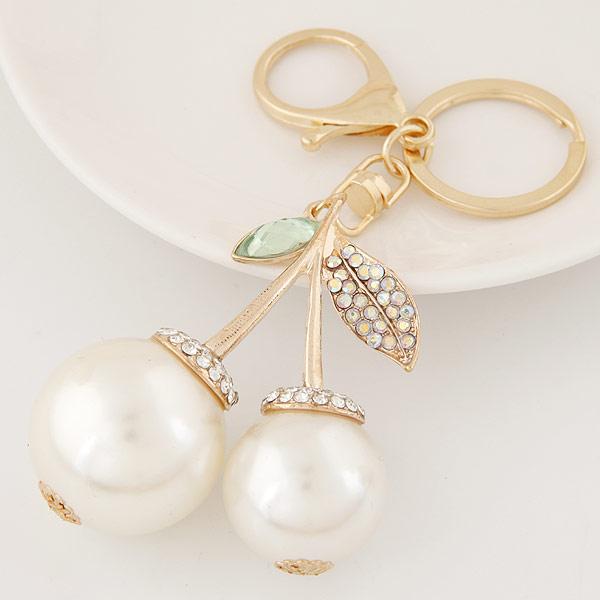 Zinklegierung Schlüssel Verschluss, mit ABS-Kunststoff-Perlen & Strass, Kirsche, goldfarben plattiert, frei von Blei & Kadmium, 65x29mm, Länge:ca. 2.56 ZollInch, verkauft von PC
