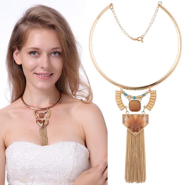 Mode-Fringe-Halskette, Zinklegierung, mit Harz, goldfarben plattiert, frei von Blei & Kadmium, 120mm, verkauft per ca. 14.5 ZollInch Strang