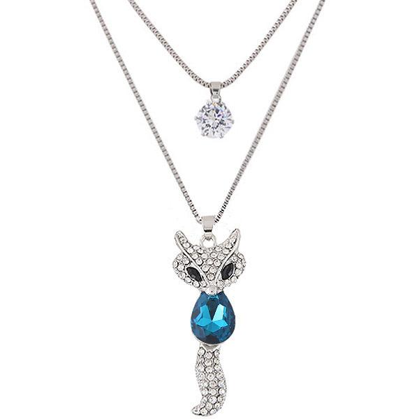 Mode-Multi-Layer-Halskette, Zinklegierung, mit Kristall, Fuchs, Platinfarbe platiniert, Kastenkette & mit Strass & 2 strängig, frei von Blei & Kadmium, 550x700mm, verkauft per 21.65 ZollInch Strang