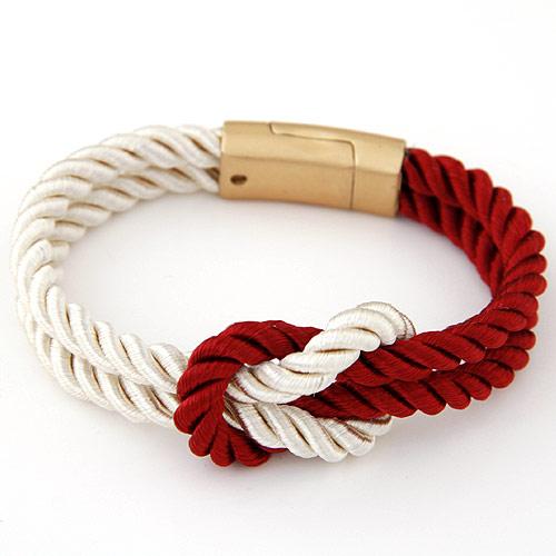 Nylonschnur Armbänder, Zinklegierung, mit Nylonschnur, goldfarben plattiert, rot, frei von Blei & Kadmium, 170mm, verkauft per ca. 6.69 ZollInch Strang