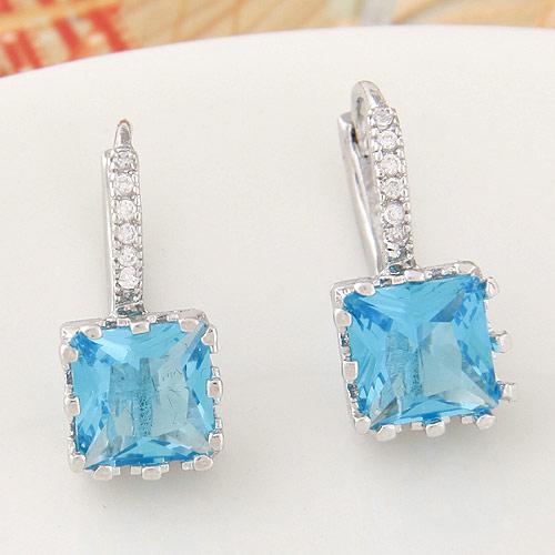 Messing Leverback Ohrring, Quadrat, Platinfarbe platiniert, mit kubischem Zirkonia, blau, frei von Nickel, Blei & Kadmium, 20x9mm, verkauft von Paar