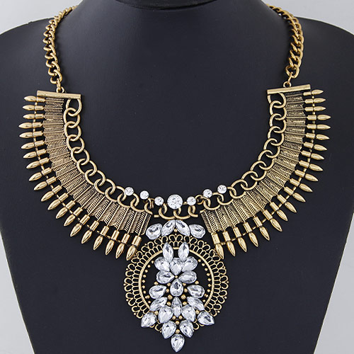 Mode Statement Halskette, Zinklegierung, antike Goldfarbe plattiert, facettierte & mit Strass, frei von Blei & Kadmium, 400x120x85x55mm, verkauft per ca. 15.75 ZollInch Strang