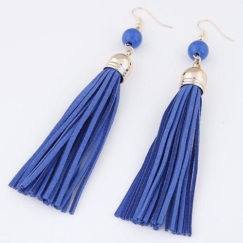 Mode-Fringe-Ohrringe, Zinklegierung, mit Wollschnur, silberfarben plattiert, tiefblau, frei von Blei & Kadmium, 120x12mm, verkauft von Paar