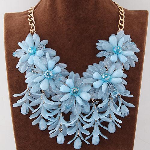 Mode Statement Halskette, Zinklegierung, mit Harz, Blume, goldfarben plattiert, himmelblau, frei von Blei & Kadmium, 500mm, verkauft per ca. 19.5 ZollInch Strang