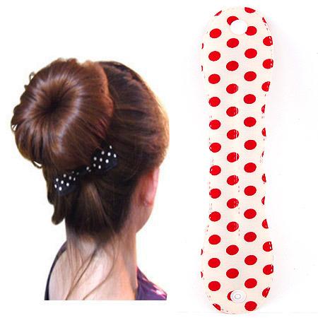 Haarknoten Dutt Dreher, Stoff, mit Muster von runden Punkten, rot, 250-48mm, verkauft von PC