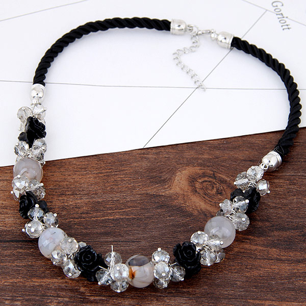 Kristall Halskette, Zinklegierung, mit Kristall & Harz, Blume, Platinfarbe platiniert, frei von Blei & Kadmium, 450mm, verkauft per ca. 17.72 ZollInch Strang