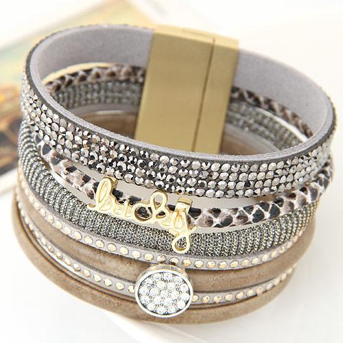 Slake Armband, Zinklegierung, mit PU Leder, goldfarben plattiert, mit Strass, frei von Blei & Kadmium, 175x33mm, verkauft per ca. 6.5 ZollInch Strang