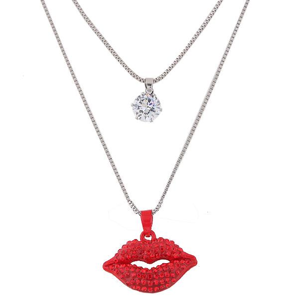 Mode-Multi-Layer-Halskette, Zinklegierung, Lippe, plattiert, mit Bemaltung & Kastenkette & mit kubischem Zirkonia & mit Strass & 2 strängig, frei von Blei & Kadmium, 550x700mm, verkauft per 21.65 ZollInch Strang