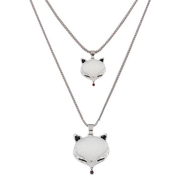 Mode-Multi-Layer-Halskette, Zinklegierung, mit Katzenauge, Fuchs, Platinfarbe platiniert, Kastenkette & 2 strängig, frei von Blei & Kadmium, 550x700mm, verkauft per 21.65 ZollInch Strang