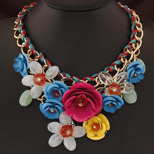Mode Statement Halskette, Zinklegierung, mit Acryl, Blume, goldfarben plattiert, Twist oval, farbenfroh, frei von Blei & Kadmium, 120x80mm, verkauft per ca. 15.5 ZollInch Strang