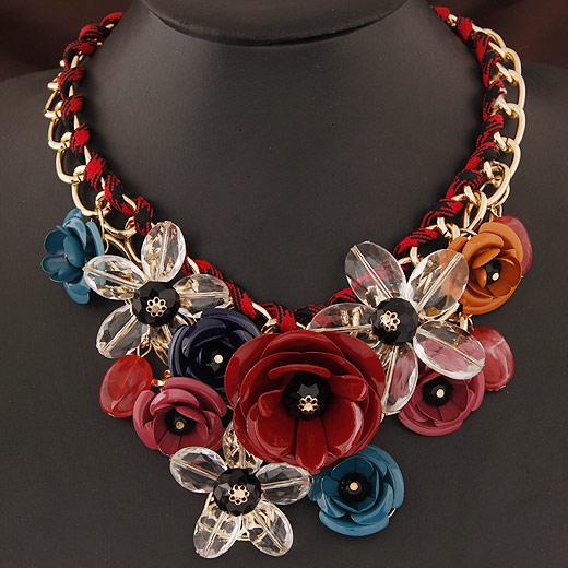 Mode Statement Halskette, Zinklegierung, mit Harz, Blume, goldfarben plattiert, farbenfroh, frei von Blei & Kadmium, 400x120x80mm, verkauft per ca. 15.75 ZollInch Strang