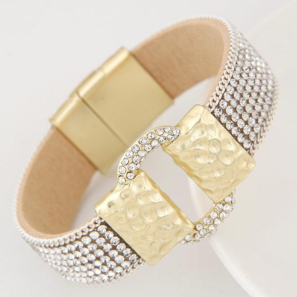 Slake Armband, Zinklegierung, mit PU Leder, goldfarben plattiert, mit Strass, 16mm, verkauft per ca. 6.5 ZollInch Strang