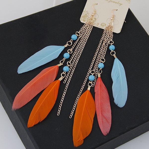 Mode-Feder-Ohrring, Eisen, mit Feder, Federn, goldfarben plattiert, rot, frei von Blei & Kadmium, 150mm, verkauft von Paar