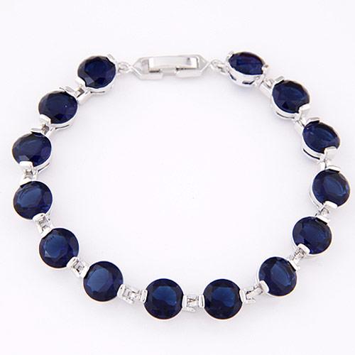 Zirkonia Armband, Messing, mit kubischer Zirkonia, platiniert, facettierte, blau, frei von Nickel, Blei & Kadmium, 175x7mm, verkauft per ca. 6.89 ZollInch Strang