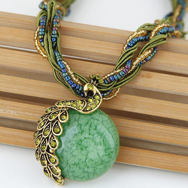 Glasperlen -Halsketten-, Zinklegierung, mit Glas-Rocailles & Harz, Pfau, antike Goldfarbe plattiert, mit Strass, frei von Blei & Kadmium, 420mm, verkauft per ca. 16.54 ZollInch Strang