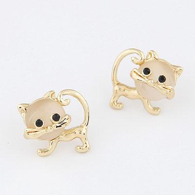 Katzenauge Ohrring, Zinklegierung, mit Katzenauge, goldfarben plattiert, frei von Blei & Kadmium, 17mm, verkauft von Paar