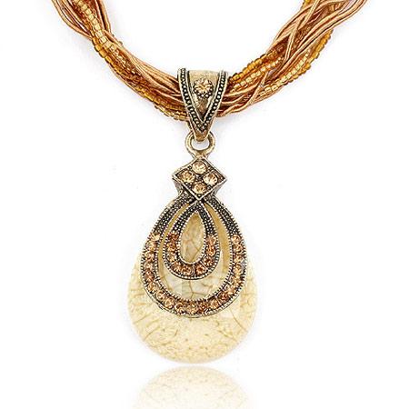 Harz Halskette, Zinklegierung, mit Glas-Rocailles & Harz, Tropfen, antik silberfarben plattiert, frei von Blei & Kadmium, 400x72x30mm, Länge:ca. 15.75 ZollInch, verkauft von PC