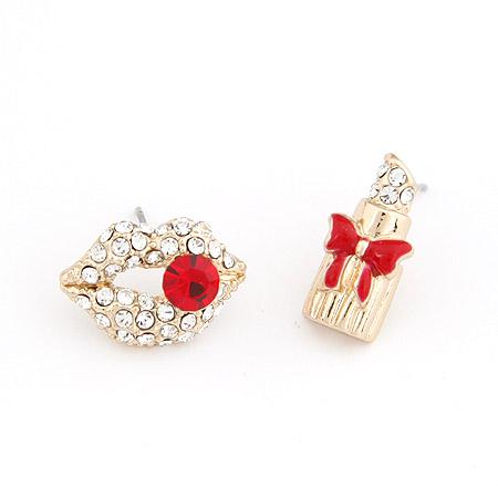 asymmetrische Ohrringe, Zinklegierung, goldfarben plattiert, mit Strass, frei von Blei & Kadmium, 18x12x8mm, verkauft von Paar