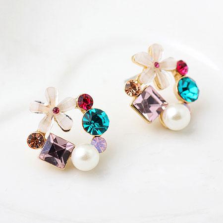 Harz Ohrring, Zinklegierung, mit ABS-Kunststoff-Perlen & Harz, Blume, vergoldet, mit Strass, frei von Blei & Kadmium, 20mm, verkauft von Paar